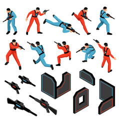 laser tag isometric set vector image