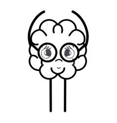 line icon adorable kawaii brain with glasses vector image