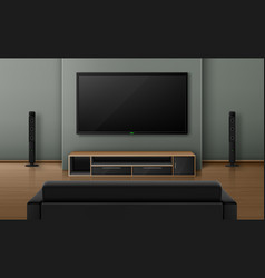Living room interior with sofa back view and tv vector