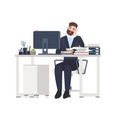 male professional worker or clerk sitting at desk vector image