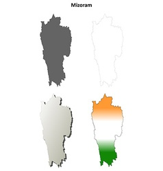 Mizoram blank detailed outline map set vector