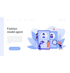 Modeling agency concept landing page vector