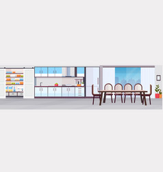 Modern kitchen interior design with dining area vector