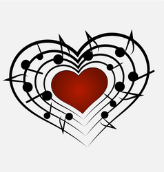 music notes and heart icon vector image