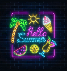 Neon summer poster with lettering and summer vector
