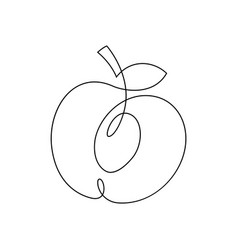 one line peach design hand drawn minimalism style vector image