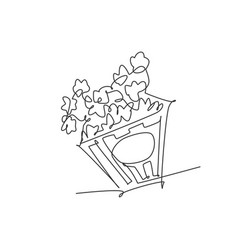 one single line drawing fresh salty pop corn vector image