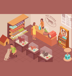 Pet shop isometric background vector