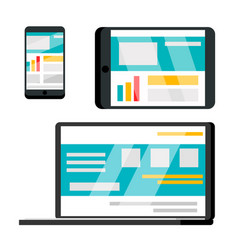 phone laptop tablet web site flat vector image