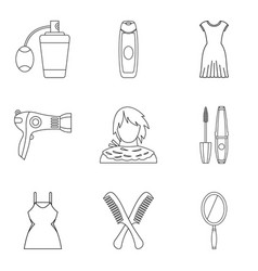 pullet icons set outline style vector image