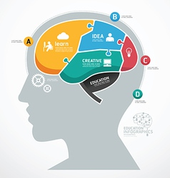 Puzzle jigsaw abstract human brain infographic vector