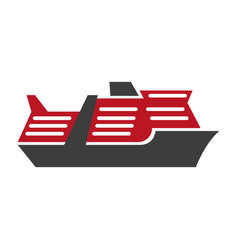 red and black motor ship hand drawn art pattern vector image