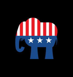 republican elephant and us flag political party vector image