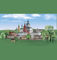russian kostroma city kremlin landscape travel vector image