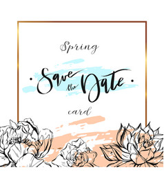 save date cards wedding invitation with hand vector image