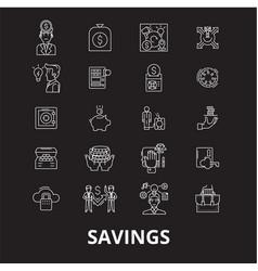 savings editable line icons set on black vector image