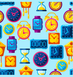 seamless pattern with different clocks stylized vector image