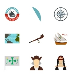 Search of mainland icons set flat style vector