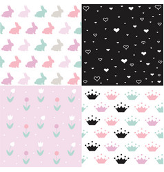 Set cute seamless easter background patterns vector