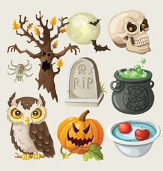 Set of colorful items for halloween vector