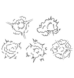 Set of exlposion clouds vector image
