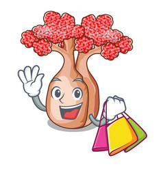 Shopping hand bottle tree in rope character vector