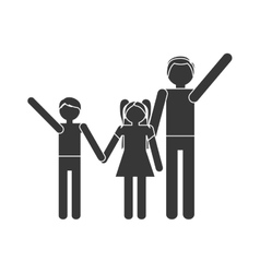 silhouette family parent son daughter hands hold vector image