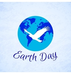 Silhouette of eagle over planet Earth Earth Day vector image vector image