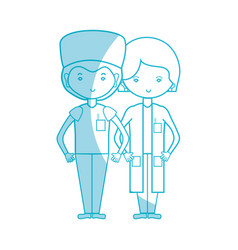silhouette woman and man doctors with their vector image