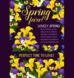 Spring season holiday greeting banner with flower vector