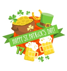 St Patricks Day card background in flat design vector image