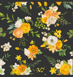 summer yellow flowers watercolor pattern seamless vector image