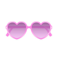 Sun glasses in shape of heart in pink design vector