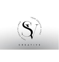 Sv letter logo design with serif typography font vector
