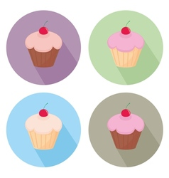 Sweet cake flat icon set isolated on white vector image