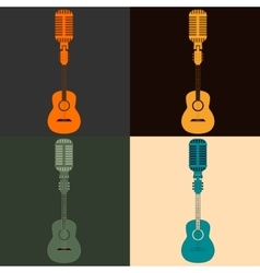 Symbol of a guitar and a microphone vector