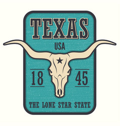Texas state tee print with longhorn skull vector