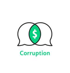 Thin line simple corruption logo vector
