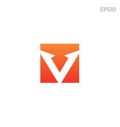 v logo minimal icon element isolated vector image