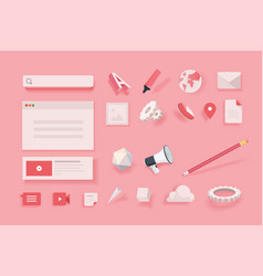 Web elements for website design and development vector
