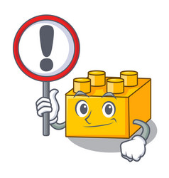 With sign pltastic building blocks cartoon on toy vector