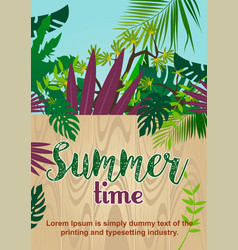 wooden fence in tropical jungle summer time text vector image