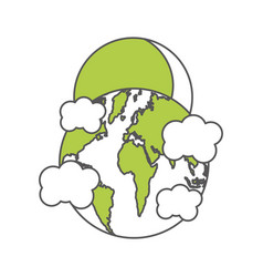 world planet earth with clouds and sun vector image
