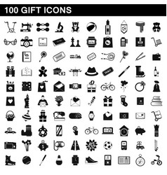 100 gift icons set simple style vector image