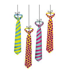 Elegant ties hanging icon vector