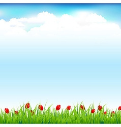 Green Landscape With Grass And Red Tulip vector image vector image
