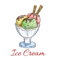Ice cream scoops dessert in glass vector image