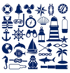 nautical icons vector image vector image