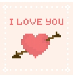 Pixel art I love you valentines day card vector image vector image
