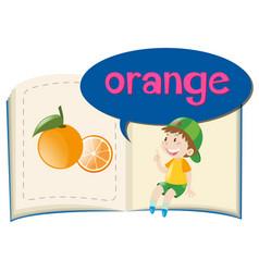 fresh orange on children book vector image